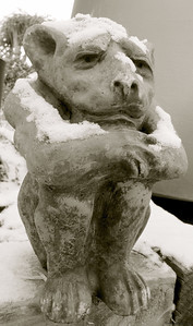 1-12-11- Garden Gargoyle in snow