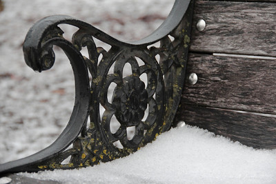 1-9-12- Snow on a park bench