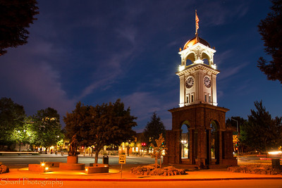 The Clock Tower of Santa Cruz illuminated at night. One more picture down for my photography course!