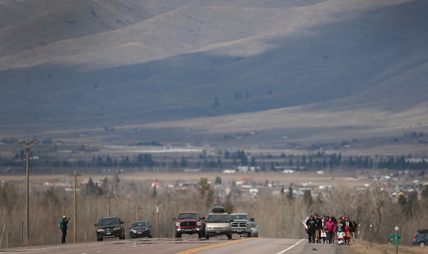 Marita Growing Thunder leads supporters on an 80-mile trek across the Flathead Indian Reservation to raise awareness for Missing and Murdered Indigenous Women north of Arlee, Mont. on Sunday, March 31, 2019.