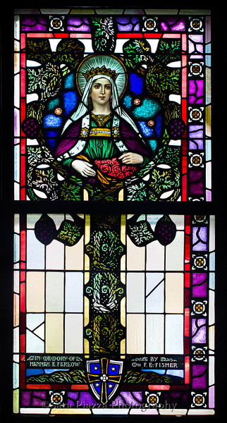 West wall: 3b. In Memory of Hannah E. Farlow by Mrs. F. E. Fisher<br /> <br /> NB: or Elizabeth of Hungary, yes; apron of flowers.