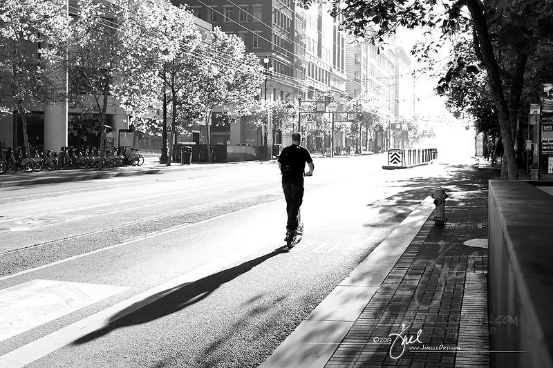 Single Skateboarder on Market St