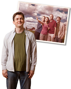 Leaving Iowa.  Composite designed to be customized with text as needed by theatre company. The snapshot is itself a composite of a rehearsal photo of the cast combined with a Wisconsin farmland landscape.