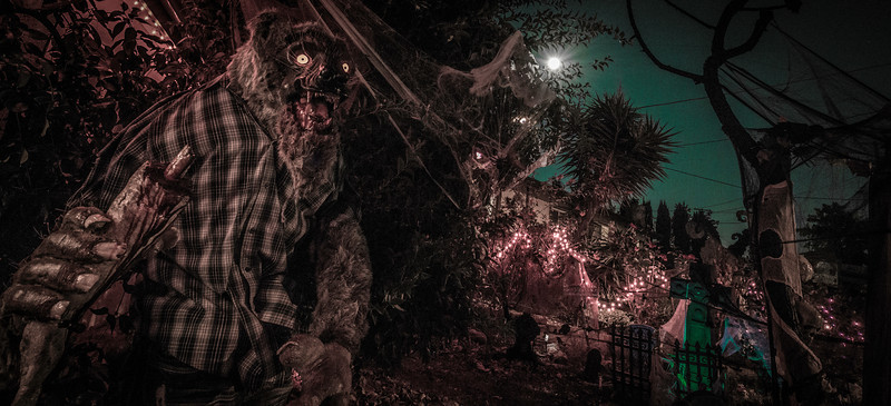The Santee Werewolf at night during a full moon. I created this animated sculpture for Halloween 2012.