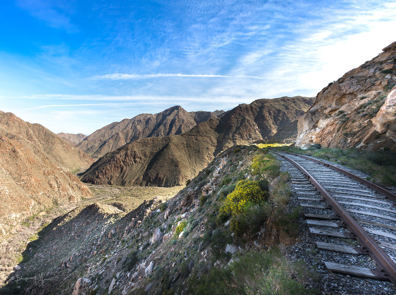 Panorama view of the goat canyon and the train track