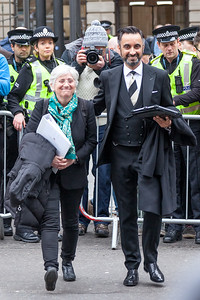 Clara Ponsatí and Aamer Anwar outside Edinburgh Sheriff Court after todays hearing.