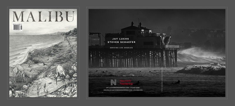 Malibu Magazine, August 2015 Issue, two page Ad. Photograph by Jazan Kozma from the 'Hurricane Marie' Series.