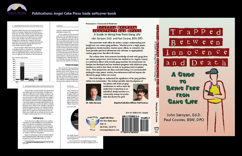 Design & produce 140-page Angel Cake Press trade paper book (4-color cover and BW interior), source printer bids, specify materials, research publication information for client (Library of Congress, Copyright office, barcode), copyedit, source and subcontract indexer, create illustrations and infographics, shoot & edit photos, press check.