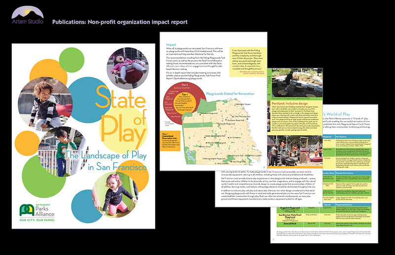 Design & produce 16-page report. Create & modify infographics; gather images from multiple sources, adjust color balance & convert for print (some were low-res); print prep.