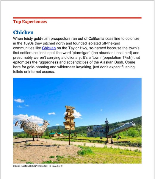"""<div class="""""""">Metal Chicken Sculpture, Sign Post, and Gold Dredge at Chicken Gold Camp along the Taylor Highway, Alaska in the 2018 <a href=""""https://shop.lonelyplanet.com/products/alaska-travel-guide-12"""" target=""""_blank""""><b>""""Lonely Planet Alaska"""" Travel Guide <br> <br> </b></a><b><a href=""""https://shop.lonelyplanet.com/products/alaska-travel-guide-12"""" target=""""_blank""""><b>Click here to view photo in the book.</b></a> <br> <br> <a href=""""https://www.lucaspaynephotography.com/Alaska/AdventureRecreation/i-z6F6TpM/A"""" target=""""_blank""""><b>Click here to see this image in its original gallery and purchase a print.</b></a></b></div>"""