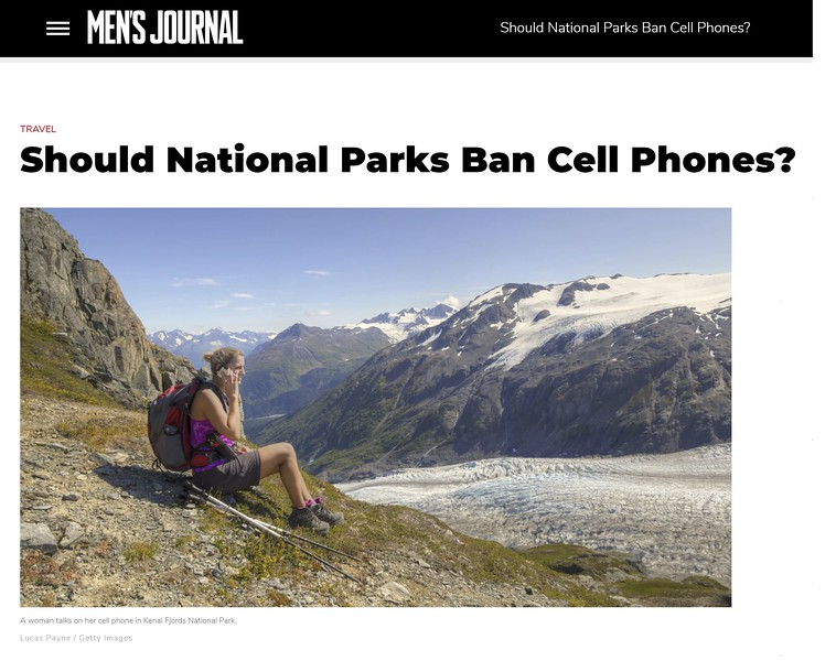 "<div class="""">Female hiker taking a break and talking on a cell phone next to Exit Glacier in the Harding Icefield near Seward, Kenai Fjords National Park, Kenai Peninsula, Southcentral Alaska published in the <a href=""https://www.mensjournal.com/travel/should-national-parks-ban-cell-phones-20150804/"" target=""_blank""><b>Men's Journal article ""Should National Parks Ban Cell Phones?"" <br> <br> </b></a><b><a href=""https://www.mensjournal.com/travel/should-national-parks-ban-cell-phones-20150804/"" target=""_blank""><b>Click here to view photo and article.</b></a> <br> <br> <a href=""https://www.lucaspaynephotography.com/Alaska/AdventureRecreation/i-5kpWsPD"" target=""_blank""><b>Click here to see this image in its original gallery.</b></a></b></div>"