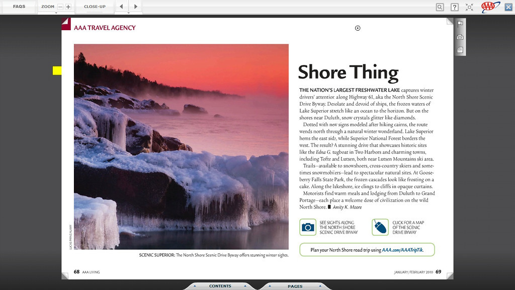"""<div class="""""""">Lake Superior Winter Sunrise <br> <br> Published in the January/February 2010 issue of the online magazine <a href=""""http://aaaliving.autoclubgroup.com/nxtbooks/aaaliving/aaaliving_minnesota_201001/index.php?startid=68"""" target=""""_blank""""><b>""""AAA Living""""</b></a> <br> <br> <a href=""""http://aaaliving.autoclubgroup.com/nxtbooks/aaaliving/aaaliving_minnesota_201001/index.php?startid=68"""" target=""""_blank""""><b>Click here to view photo and article.</b></a> <br> <br> <a href=""""http://www.lucaspaynephotography.com/Minnesota/Minnesotas-North-Shore-Of-Lake/3312788_V876CX#!i=1554899903&k=4QqrB6V"""" target=""""_blank""""><b>Click here to see this image in its original gallery and purchase a print.</b></a></div>"""