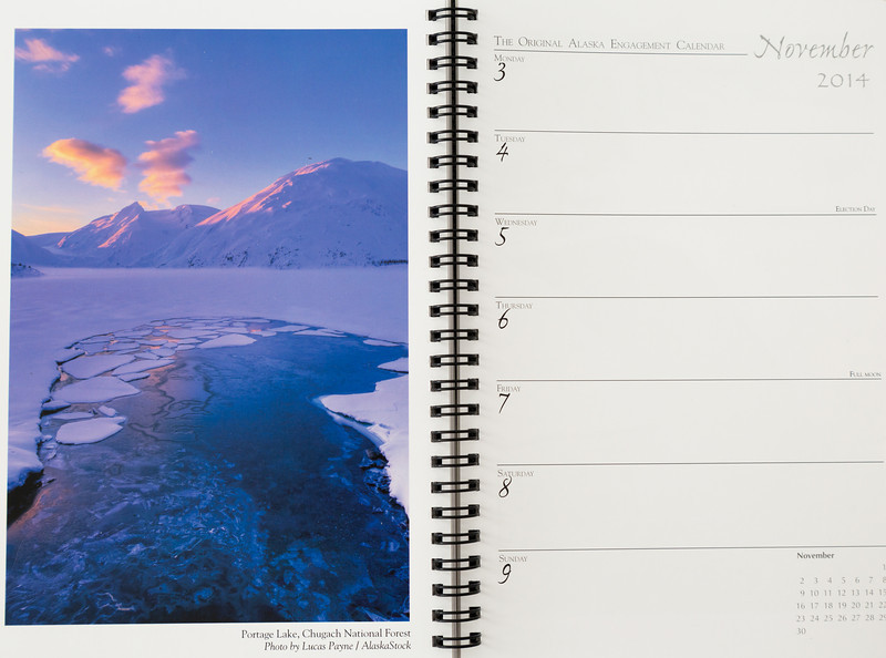 "<div class="""">Image of Portage Lake, Alaska published in the <a href=""http://www.alaskacalendars.com/2.htm"" target=""_blank""><b>""The Original Alaska Engagement Calendar 2014""</b></a> <br> <br> <a href=""http://www.lucaspaynephotography.com/Alaska/Alaska-Scenic-1/3311624_GhkPnG#!i=1722036047&amp;k=VkMkxKm"" target=""_blank""><b>Click here to see this image in its original gallery and purchase a print.</b></a></div>"