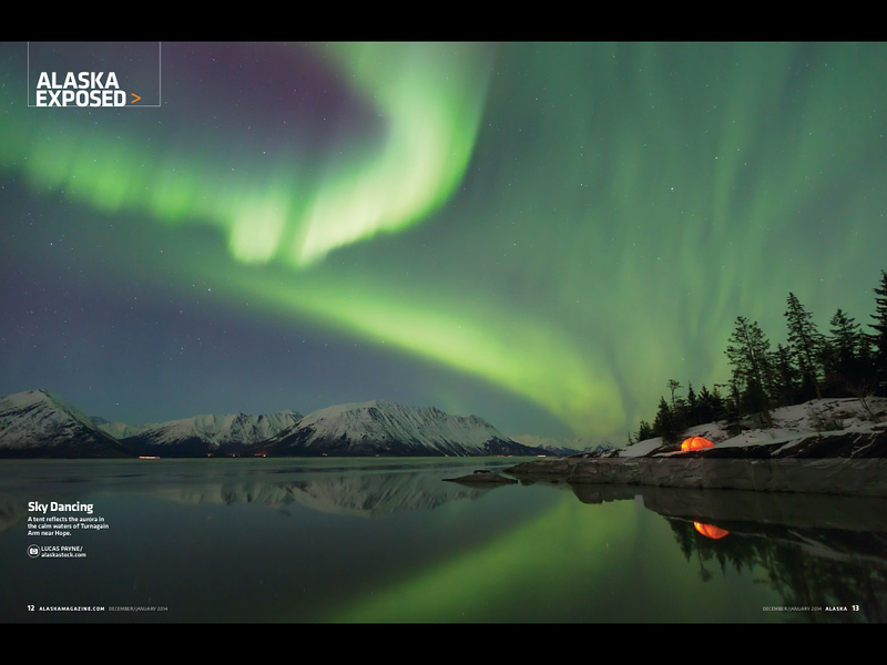 "<div class="""">A tent reflects the aurora in the calm waters of Turnagain Arm near Hope published as a two page spread in the December/January 2014 issue of <a href=""http://www.alaskamagazine.com/"" target=""_blank""><b>""Alaska Magazine""</b></a> <br> <br> <a href=""https://itunes.apple.com/us/app/alaska-magazine/id657527610?mt=8"" target=""_blank""><b>Click here to download the digital edition to your iPad.</b></a> <br> <br> <a href=""http://www.lucaspaynephotography.com/Alaska/Northern-Lights/3311593_rM5c98#!i=2414395630&k=b29dv5S"" target=""_blank""><b>Click here to see this image in its original gallery and purchase a print.</b></a></div>"
