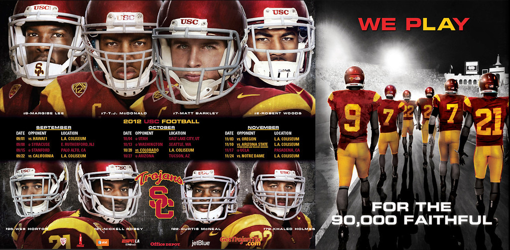 USC Football 2012 double sided schedule poster