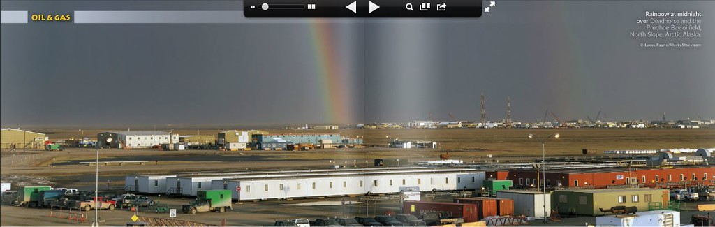"""<div class="""""""">Image of a Rainbow at midnight over Deadhorse and the Prudhoe Bay oilfield published in the October 2014 issue of <a href=""""http://issuu.com/alaska_business_monthly/docs/abm_oct_2014_4_web/167?e=2079629/9944478"""" target=""""_blank""""><b>""""Alaska Business Monthly""""</b></a> <br> <br> <a href=""""http://issuu.com/alaska_business_monthly/docs/abm_oct_2014_4_web/167?e=2079629/9944478"""" target=""""_blank""""><b>Click here to view photo and article.</b></a> <br> <br> <a href=""""http://www.lucaspaynephotography.com/Alaska/Prudhoe-Bay/15864500_BC29Bv#!i=2588489774&k=N5HJvN4&lb=1&s=L"""" target=""""_blank""""><b>Click here to see this image in its original gallery and purchase a print.</b></a></div>"""