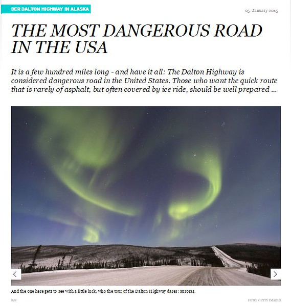 "<div class="""">Northern Lights over the Haul Road (Dalton Highway) published in the online article <a href=""http://www.travelbook.de/welt/Dalton-Highway-in-Alaska-Die-gefaehrlichste-Strasse-der-USA-565146.html"" target=""_blank""><b>""The Most Dangerous Road in the USA""</b></a> <br> <br> <a href=""http://www.travelbook.de/welt/Dalton-Highway-in-Alaska-Die-gefaehrlichste-Strasse-der-USA-565146.html"" target=""_blank""><b>Click here to view photo and article.</b></a> <br> <br> <a href=""http://www.lucaspaynephotography.com/Alaska/Northern-Lights/3311593_rM5c98#!i=2237043473&amp;k=F9LNjG4&amp;lb=1&amp;s=XL"" target=""_blank""><b>Click here to see this image in its original gallery and purchase a print.</b></a></div>"