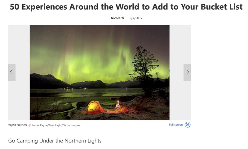 "<div class="""">View of the Aurora Borealis (Northern Lights) dancing above the Chugach Mountains with a backpacking tent and Christmas Tree along the shore of Turnagain Arm, Kenai Peninsula, Southcentral, Alaska published in the <a href=""https://www.msn.com/en-us/travel/tripideas/50-experiences-around-the-world-to-add-to-your-bucket-list/ss-AAmFZ9c#image=26"" target=""_blank""><b>msn.com article ""50 Experiences Around the World to Add to Your Bucket List"" <br> <br> </b></a><b><a href=""https://www.msn.com/en-us/travel/tripideas/50-experiences-around-the-world-to-add-to-your-bucket-list/ss-AAmFZ9c#image=26"" target=""_blank""><b>Click here to view photo and article.</b></a> <br> <br> <a href=""https://www.lucaspaynephotography.com/Alaska/Northern-Lights/i-m2gPZDr/A"" target=""_blank""><b>Click here to see this image in its original gallery and purchase a print.</b></a></b></div>"