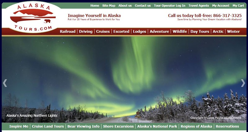 """<div class="""""""">Image of the Northern Lights dancing over the James Dalton Highway (Haul Road) north of Fairbanks, Alaska used on the homepage of <a href=""""http://www.alaskatours.com/"""" target=""""_blank""""><b>""""AlaskaTours.com""""</b></a> <br> <br> <a href=""""http://www.lucaspaynephotography.com/Alaska/Northern-Lights/3311593_rM5c98#!i=2237037160&k=3ZftnxT&lb=1&s=A"""" target=""""_blank""""><b>Click here to see this image in its original gallery and purchase a print.</b></a></div>"""