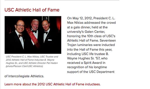 USC Office of the President website