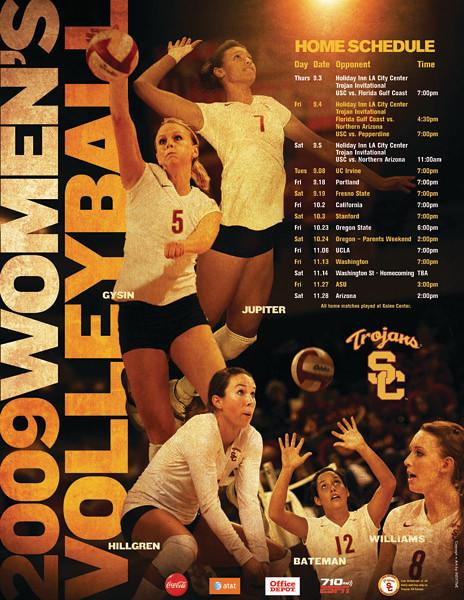 2009 USC TROJANS WOMEN/'S VOLLEYBALL SCHEDULE POSTER