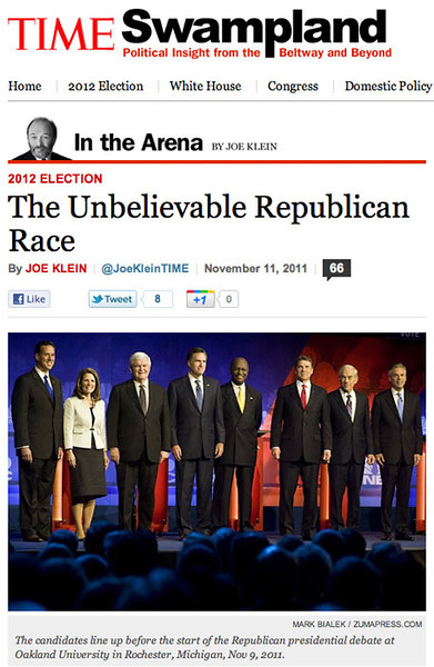 This lineup of republicans running for the presidential primary in 2011 eventually got whittled down to just Mitt Romney, who then lost to Obama in the main election.