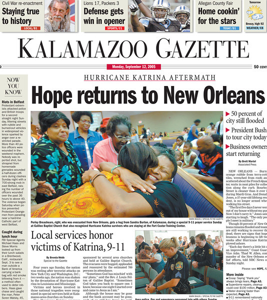 For about a week straight I covered New Orleanians making new friends and homes in Kalamazoo, MI after Hurricane Katrina.