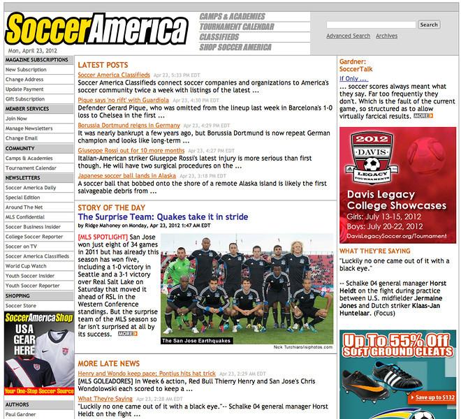 Apri 23,2012: Soccer America - San Jose Earthquakes Starting Eleven.