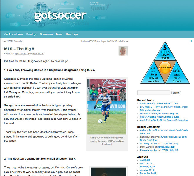 April 15, 2013: Gotsoccer - George John.