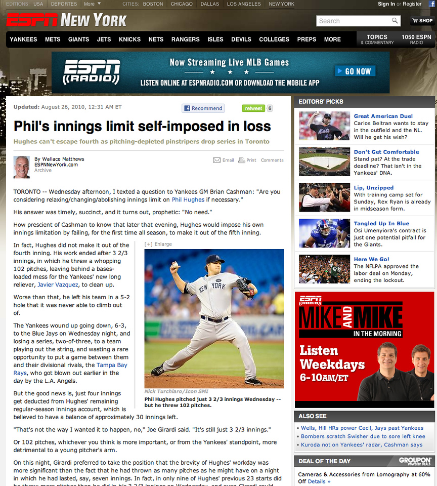espn.com(New York) New York Yankees Phil Hughes