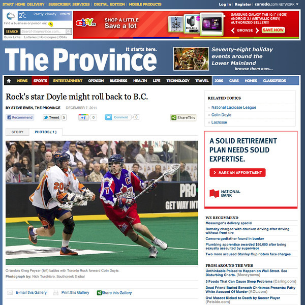 December 7, 2011: The Province - Colin Doyle
