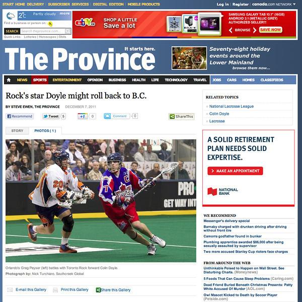 December 7, 2011: The Province - Colin Doyle