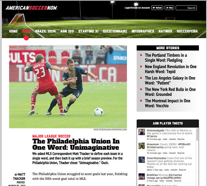 March 3, 2013: americansoccer.com - Toronto FC midfielder Terry Dunfield #23 and Philadelphia Union forward Jack McInerney #9.