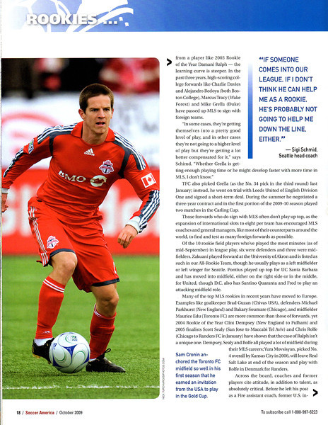Soccer America Magazine 2009 October Issue Page 18 Sam Cronin.