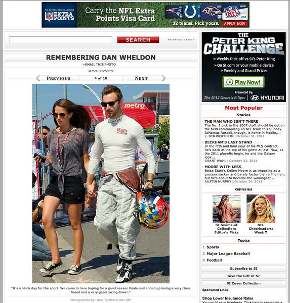 "October 18, 2011: si.com ""Remembering Dan Wheldon"" - James Hinchcliffe 2011 Honda Indy Toronto."