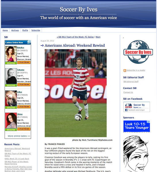 August 19, 2012: Soccer By Ives - Clarence Goodson US Men's Soccer Team.