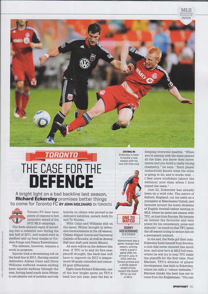 March 29,2012: Sportsnet Magazine Issue Page 61 Middle Photo - Danny Koevermans Toronto FC