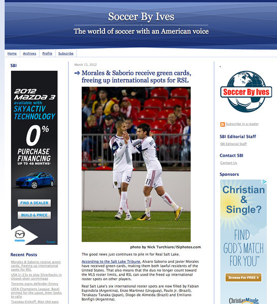 March 13, 2012: Soccer By Ives - Javier Morales & Alvaro Saborio of Real Salt Lake.