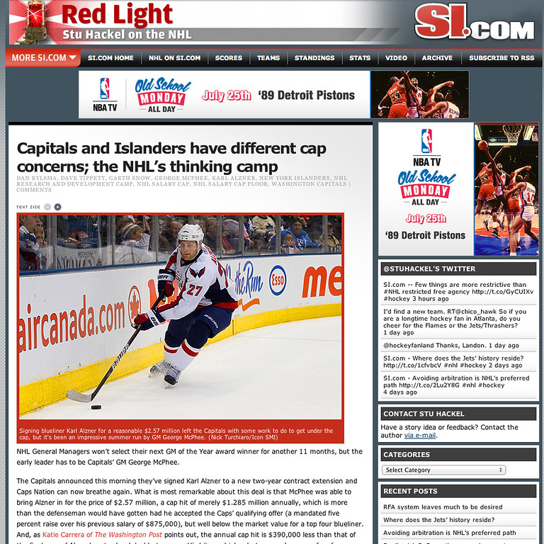 si.com Red Light Washington Capitals Karl Alzner