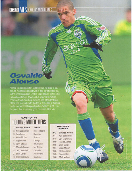 January 10, 2013: Soccer America Magazine Page 56 - Osvaldo Alonso