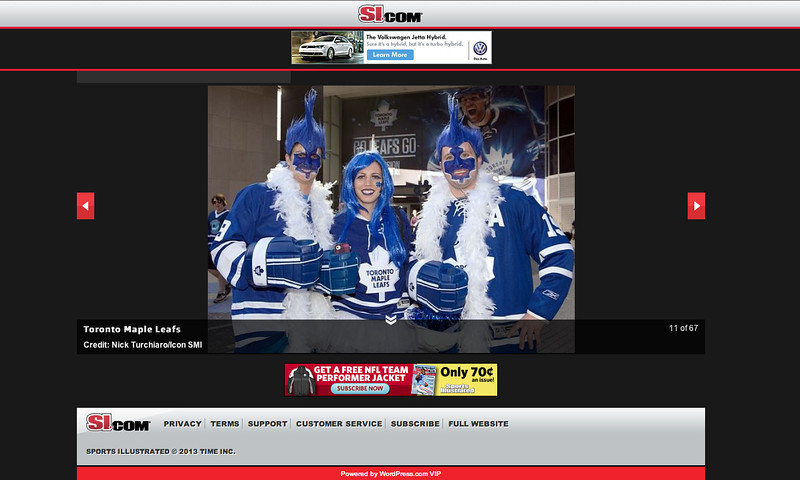 May 10, 2013: si.com - Toronto Maple Leaf Fans - NHL Eastern Quarter Finals.