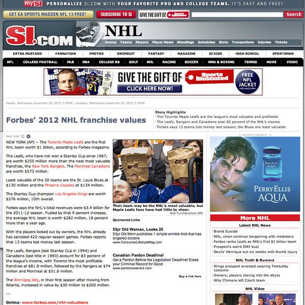November 28, 2012: Leafs Fan - si.com.