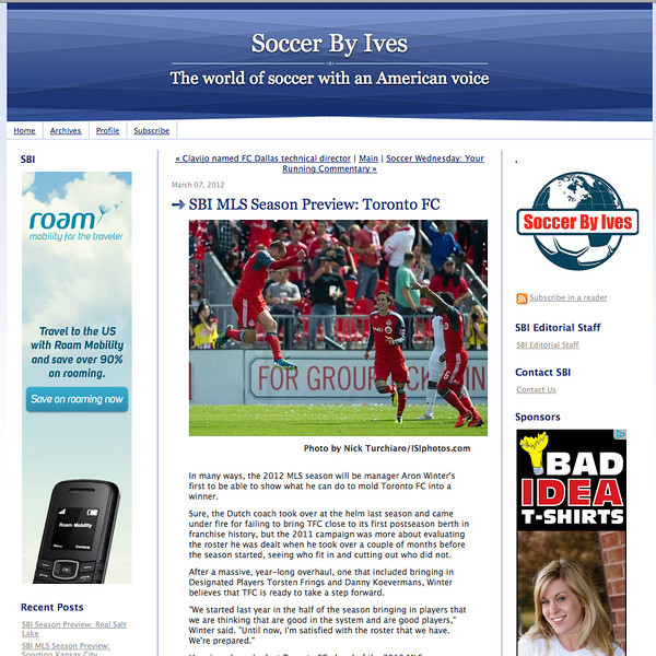 March 7, 2012: Soccer By Ives-SBI MLS Season Preview Toronto FC