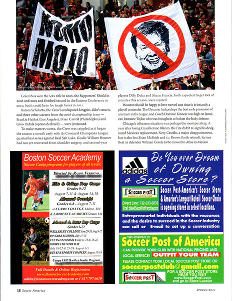 Soccer America Magazine Spring 2011 Page 16 Top Image of Toronto FC Fans.