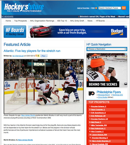 March 1, 2012: Hockey's Future - Martin Brodeur.