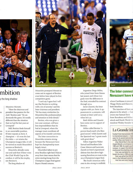 Soccer America Magazine 2010 Fall Issue Page 54 & 55 Inter Milan coach Rafael Benitez.