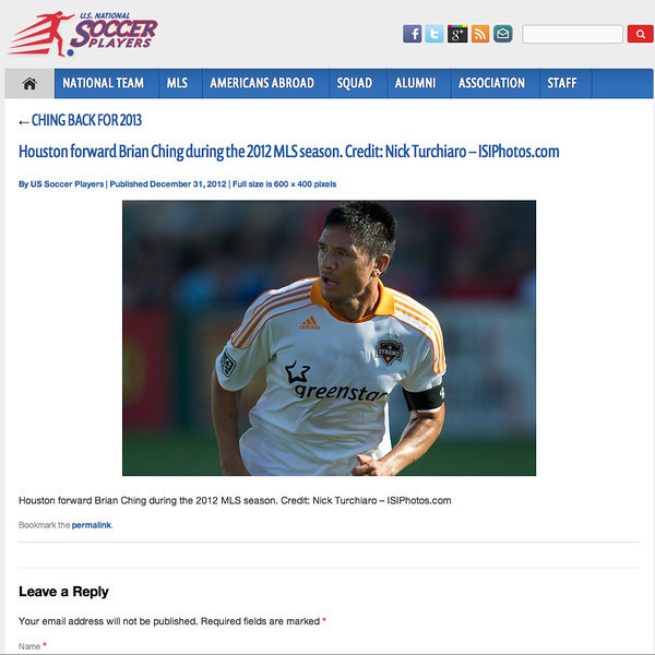 December 31, 2012: U.S National Soccer Players - Brian Ching