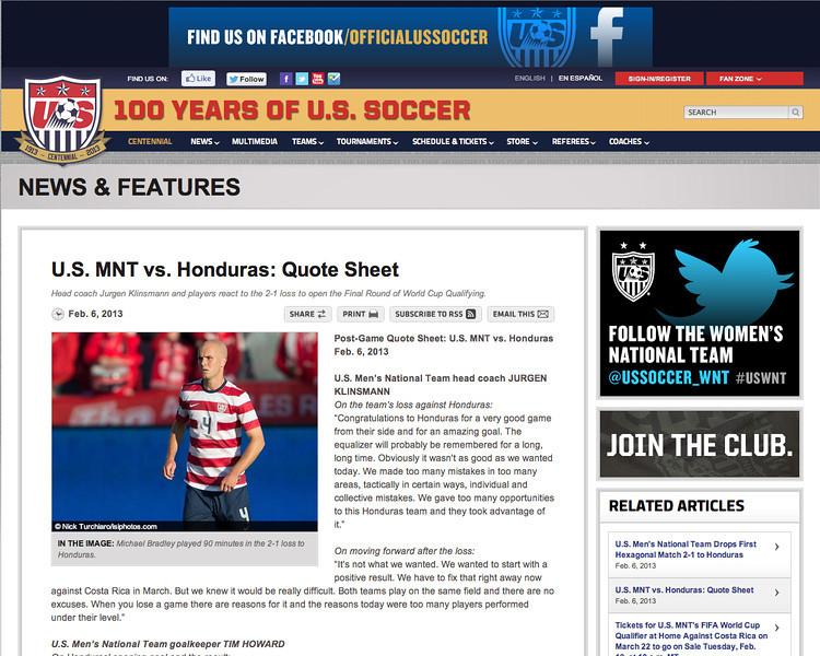 February 6, 2013: US National Men's Soccer Team - Michael Bradley.