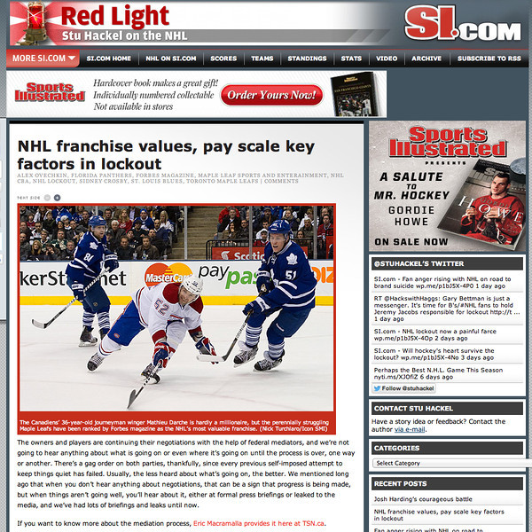 November 29, 2012: Toronto Maple Leafs - si.com.