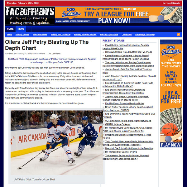 February 16, 2012: FaceOff News - Jeff Petry Edmonton Oilers at Toronto Maple Leafs.